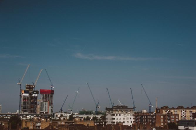 Colour photo across the London skyline