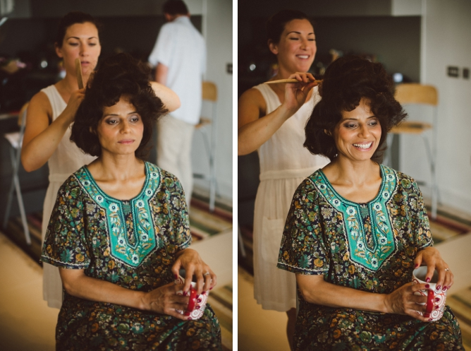 Photo of mother of Bride getting ready