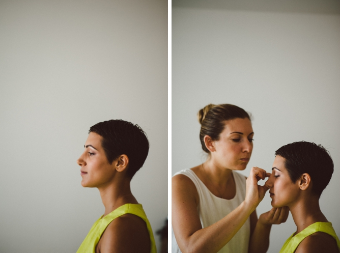 Bride with short hair having makeup done