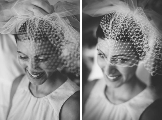 Black & white photo of brides wedding hat