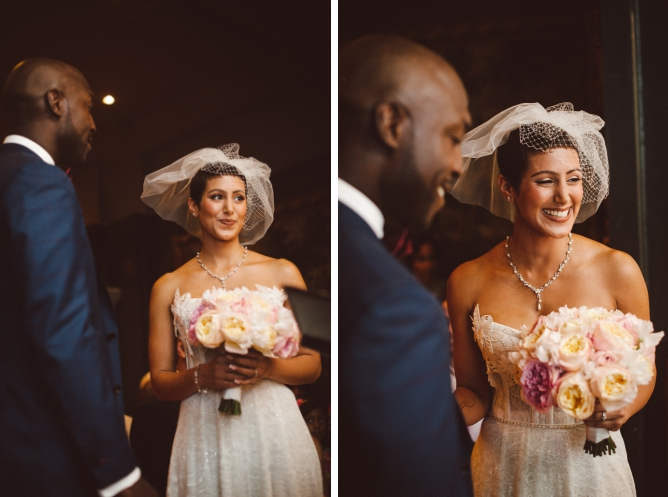 Colour photo of bride laughing at wedding in London