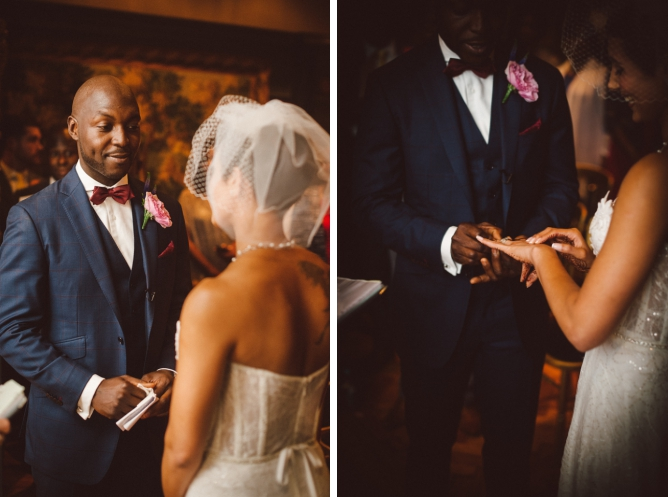 Groomgiving wedding ring to Bride at Porchester Hall wedding