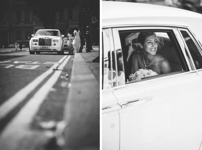 Bride arriving in Rolls Royce on wedding day at Porchester Hall wedding
