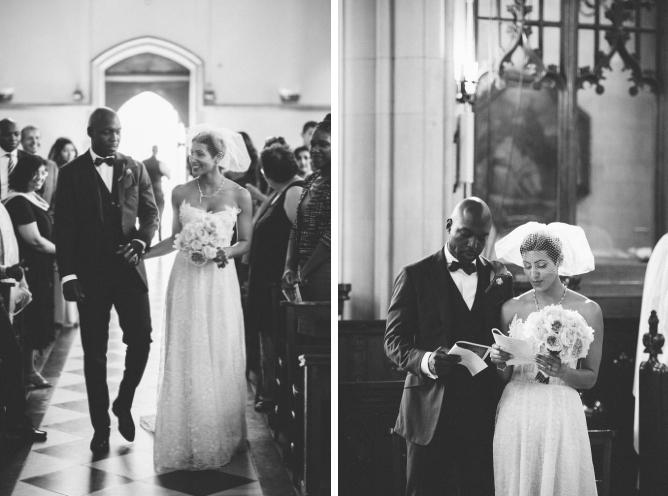 Couple entering church at Porchester Hall wedding