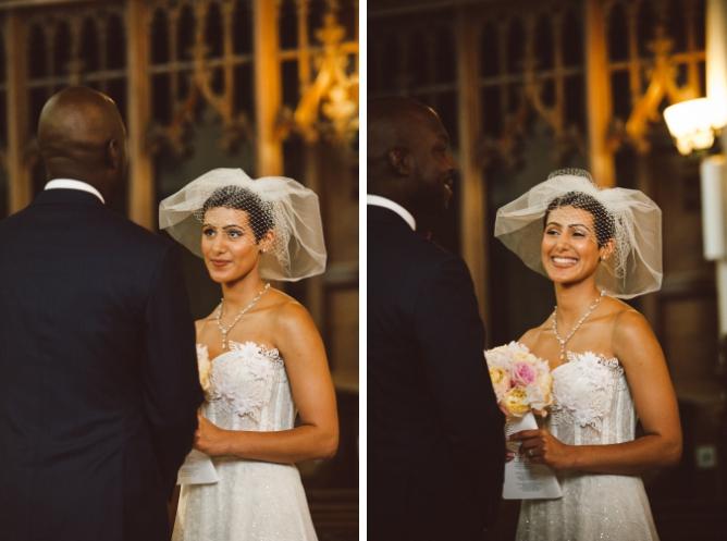 Bride with big smile at wedding ceremony