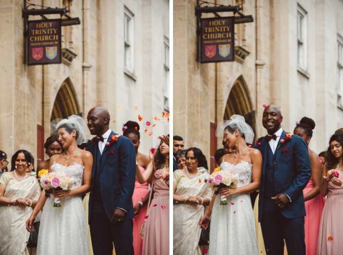 Confetti being thrown at wedding couple in London