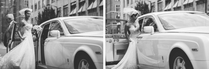 Cool Bride getting into Rolls Royce