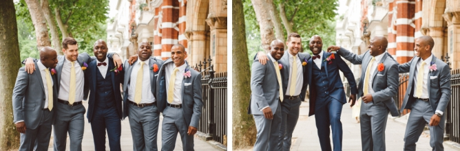 Groom with Groomsmen at Porchester Hall wedding in London