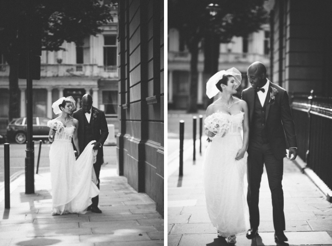 Black & white photo of cool couple in street