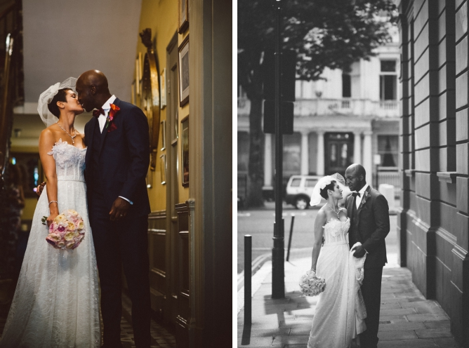 Cool wedding couple in London street