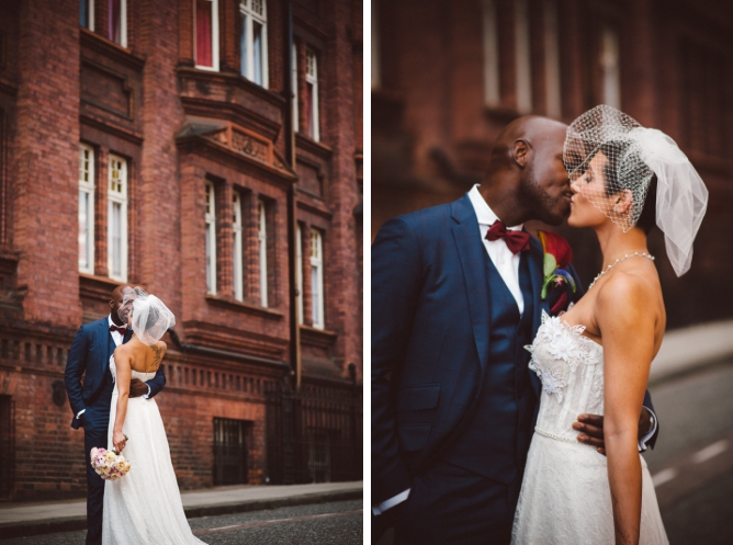 Classy wedding couple infront of Red brick building