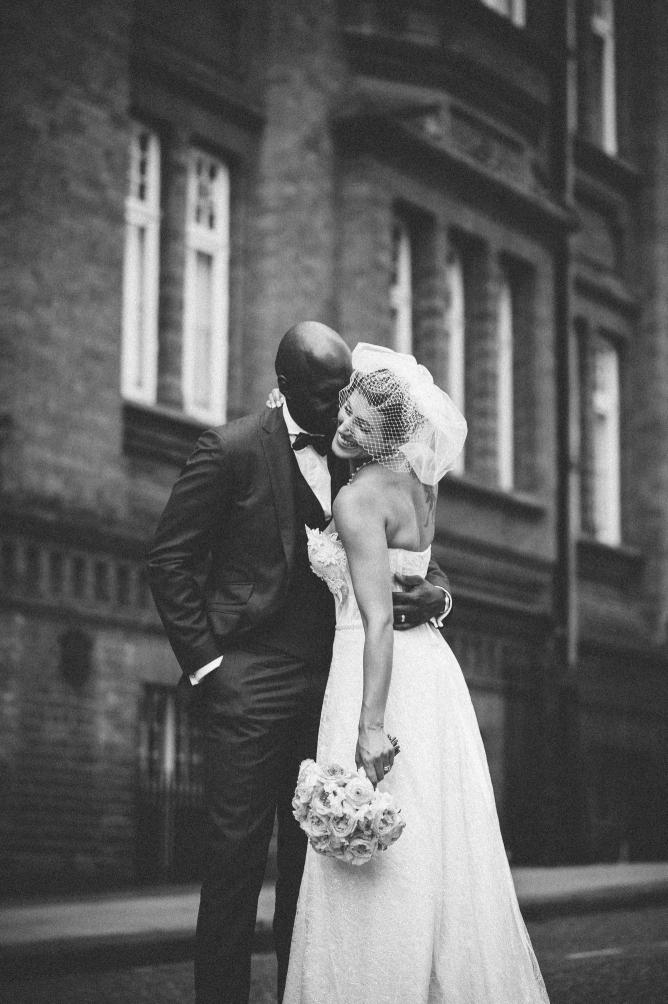 Black & White photo of coupleon Porchester Hall wedding day