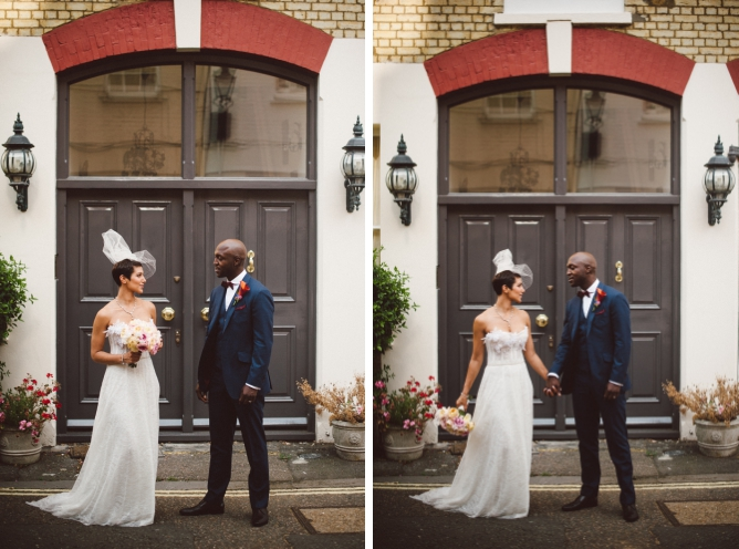 Stylish couple on their Porchester Hall wedding day