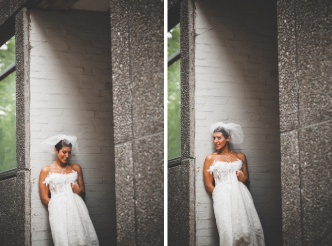 Stylish Bride in urban environment