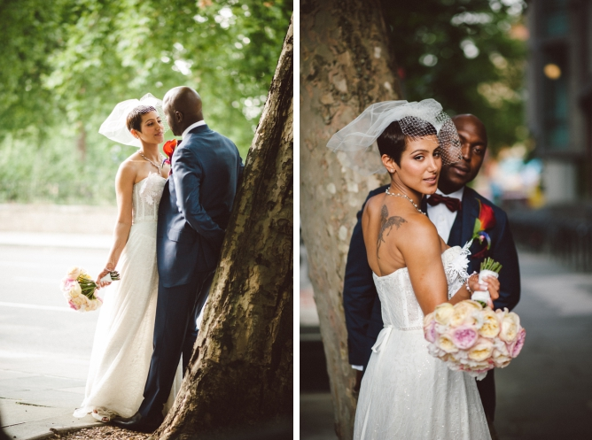 Stylish couple on wedding day at Porchester Hall