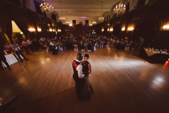 Couple dancing at their Porchester Hall wedding