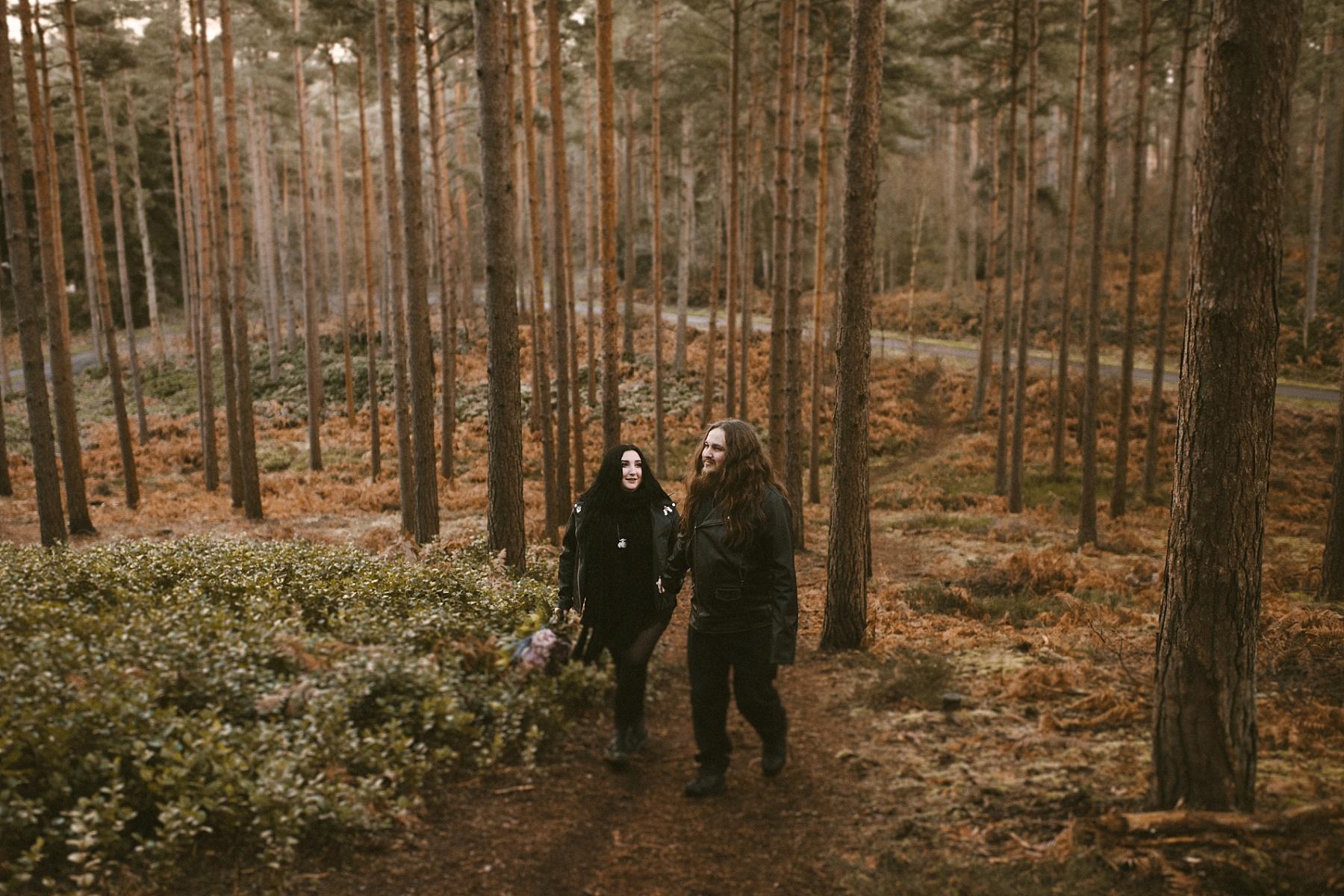 wedding photo taken in the woods