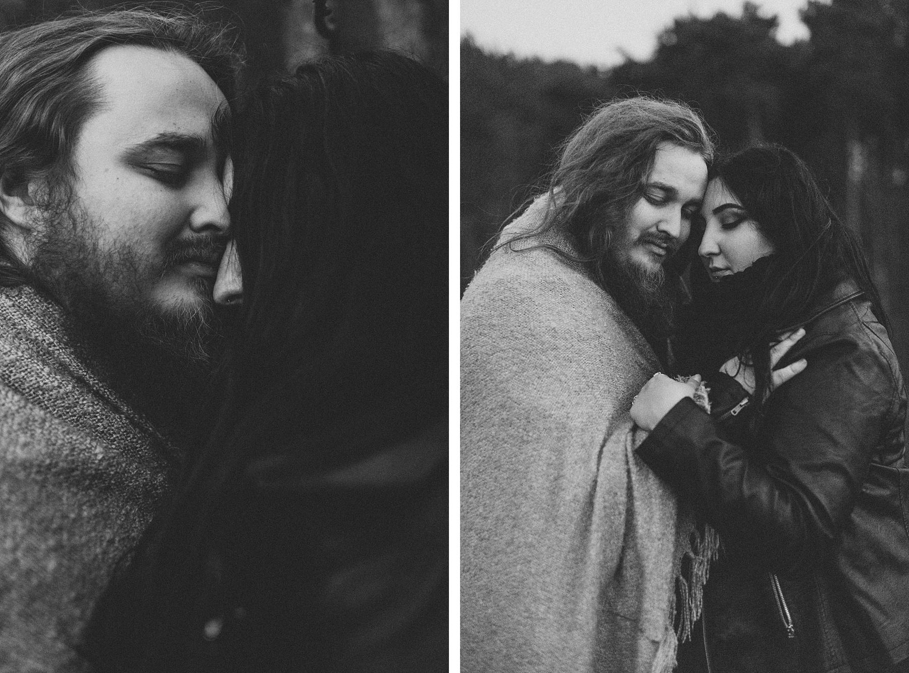 black & white image of alternative couple