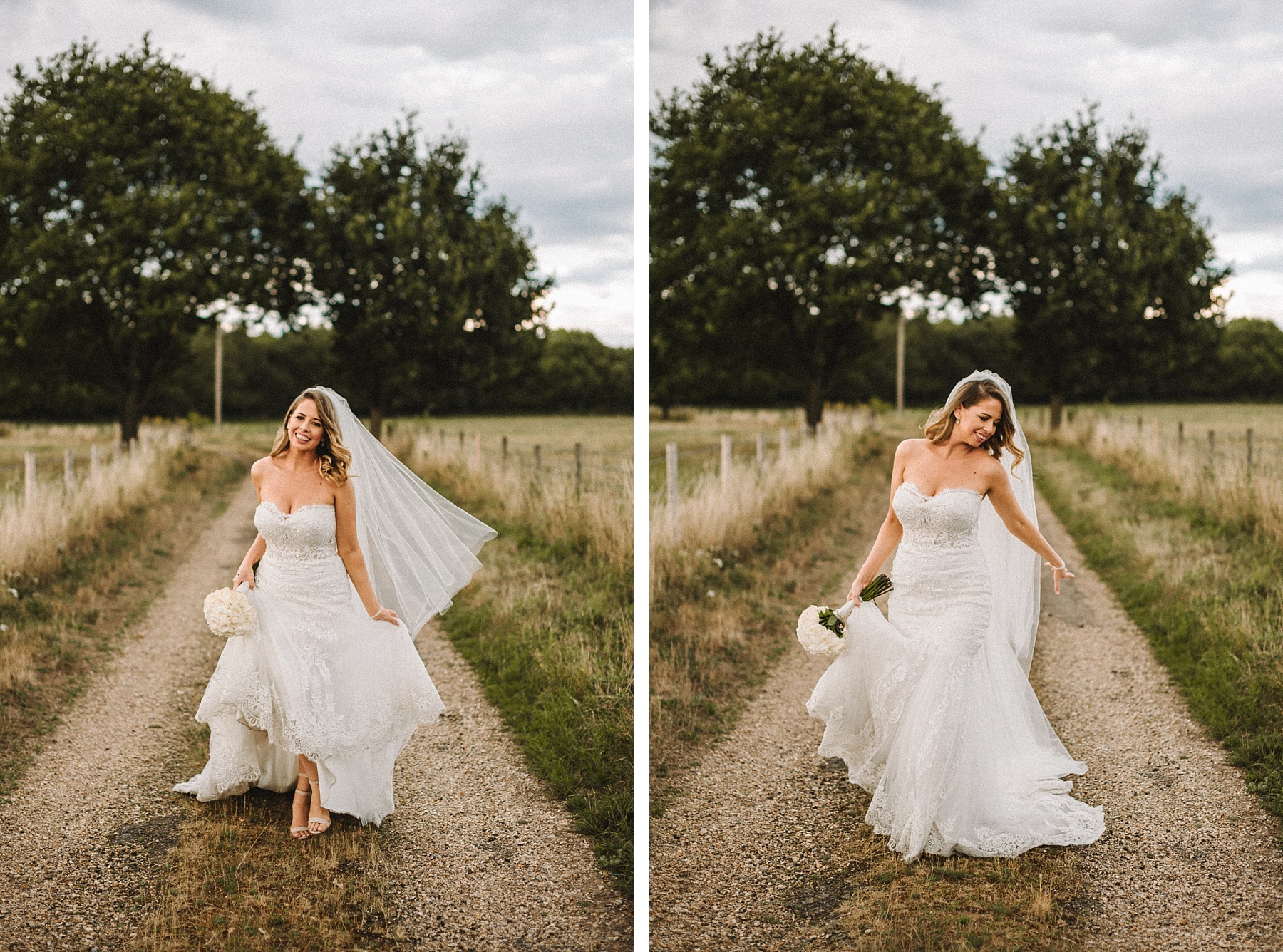 photograph of cool bride in white wedding dress