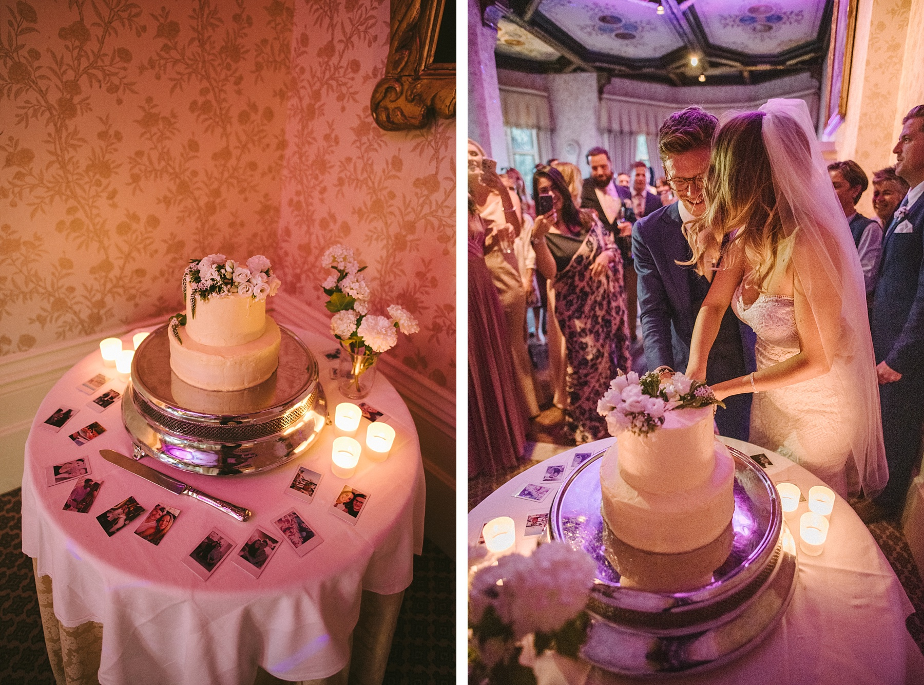 stylish couple cutting cake at The Elvetham wedding