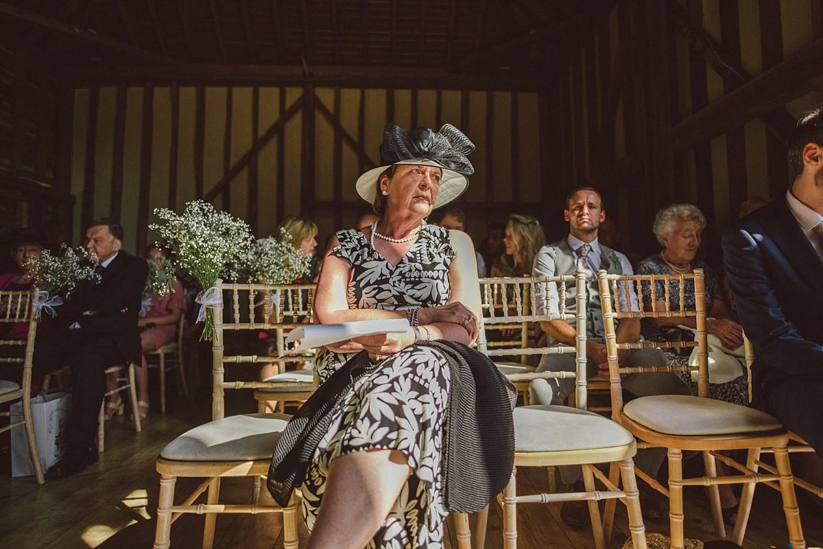 wedding ceremony at rustic barn wedding