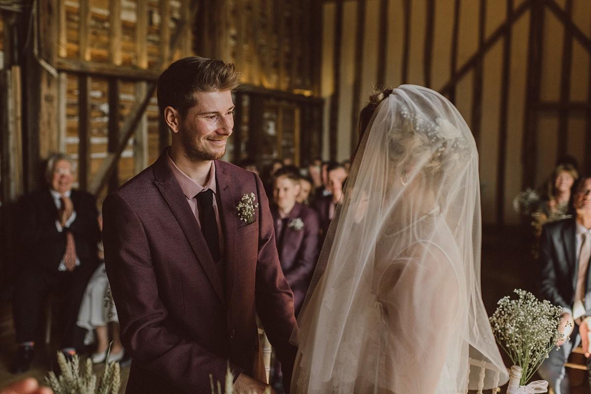 wedding ceremony at stokes farm barn