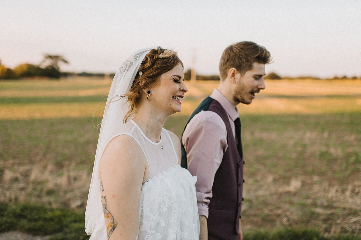 happy bride at Stokes Farm Barn