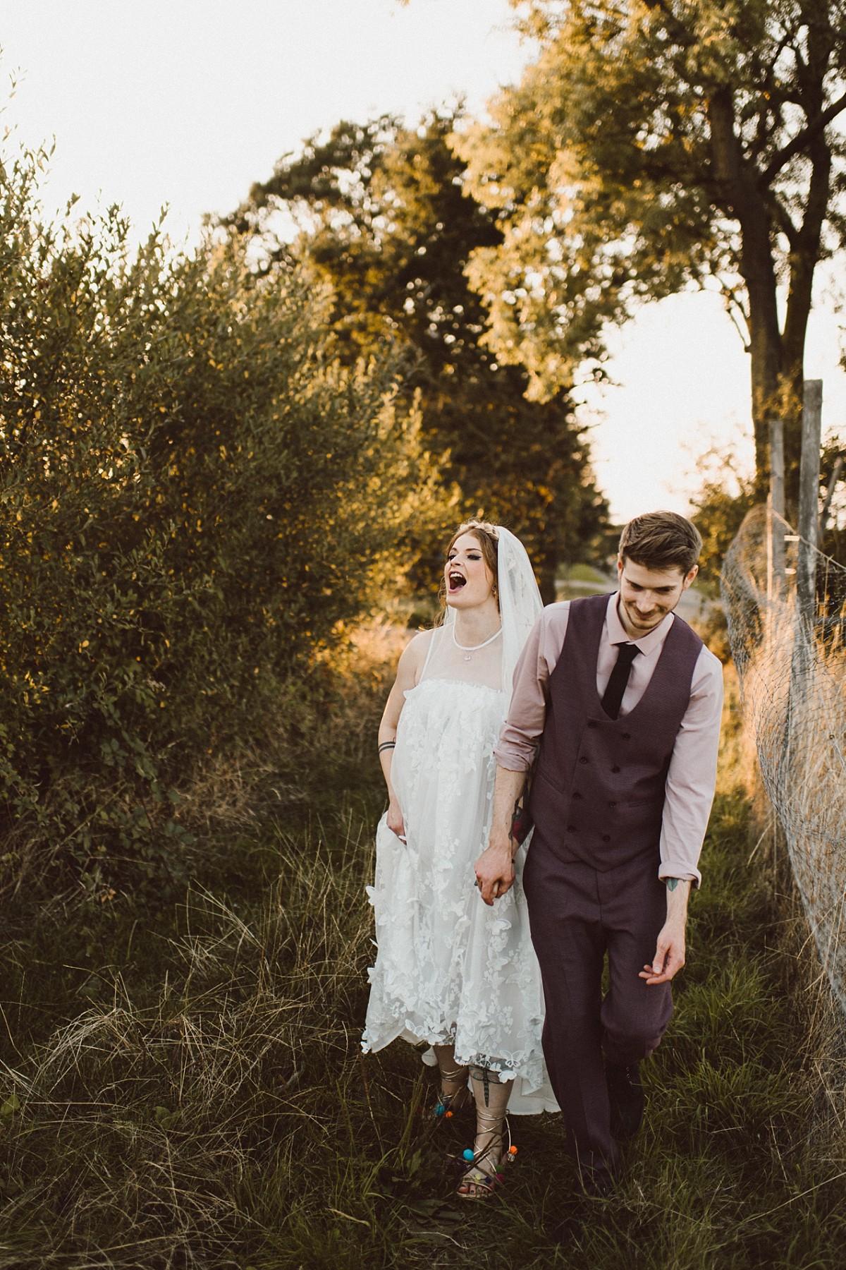 bride laughing while walking
