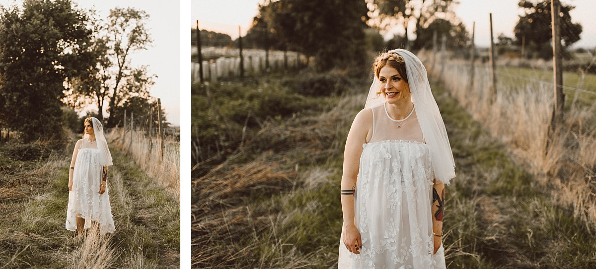 cool bride at Stokes Farm Barn