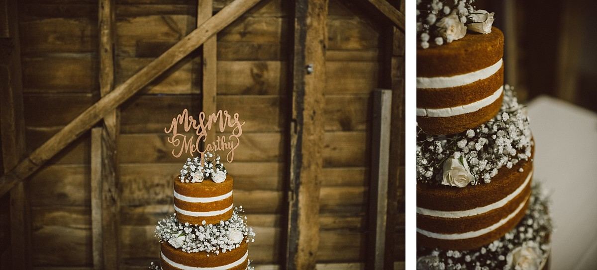 wedding cake at barn wedding in berkshire