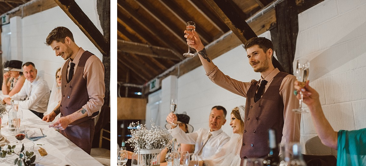 groom making wedding toast