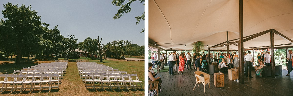colour photo of summer wedding in Hayling Island wedding venue