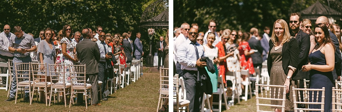 guests waiting for bride to arrive at Tournerbury Woods Estate