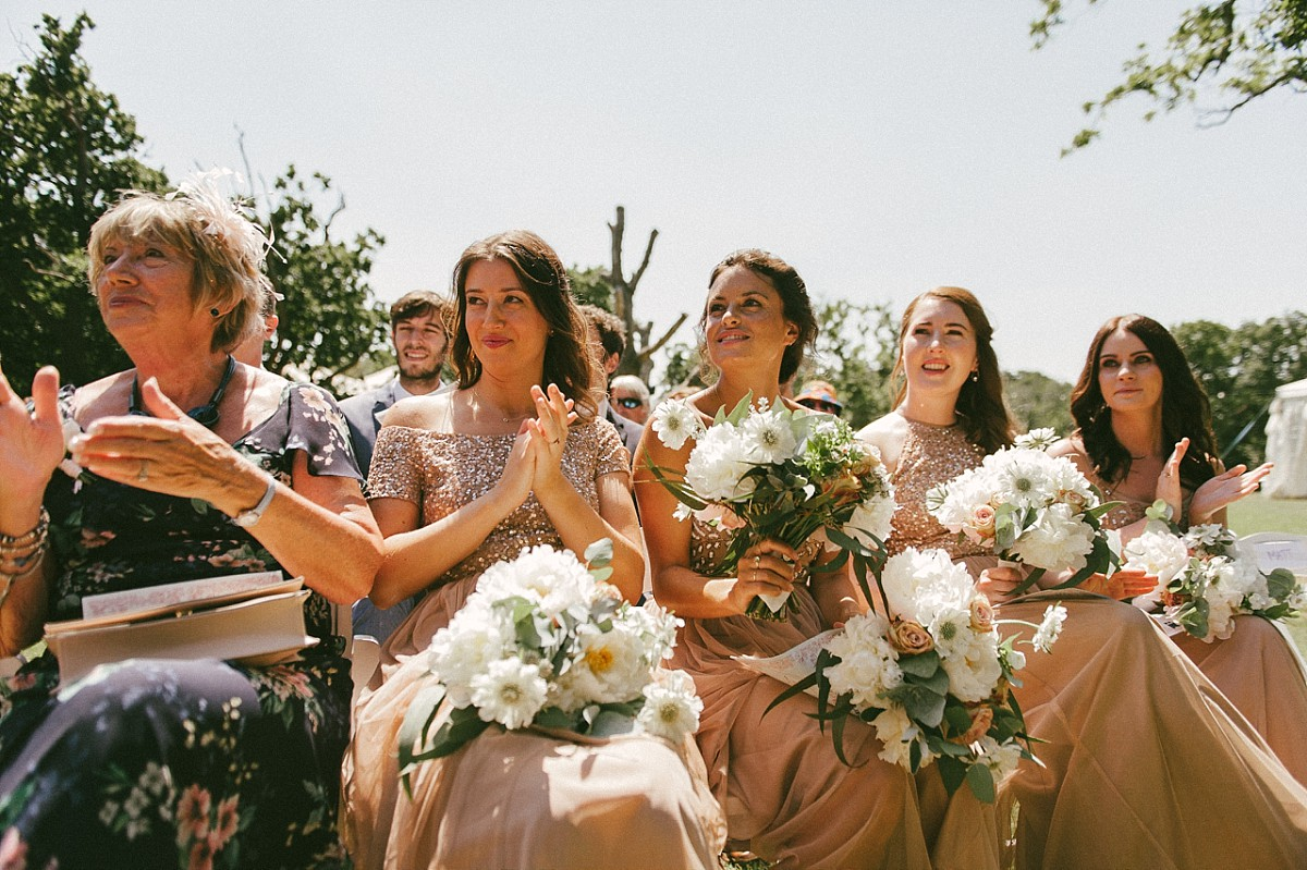 bridesmaids clapping at Tournerbury Woods Estate