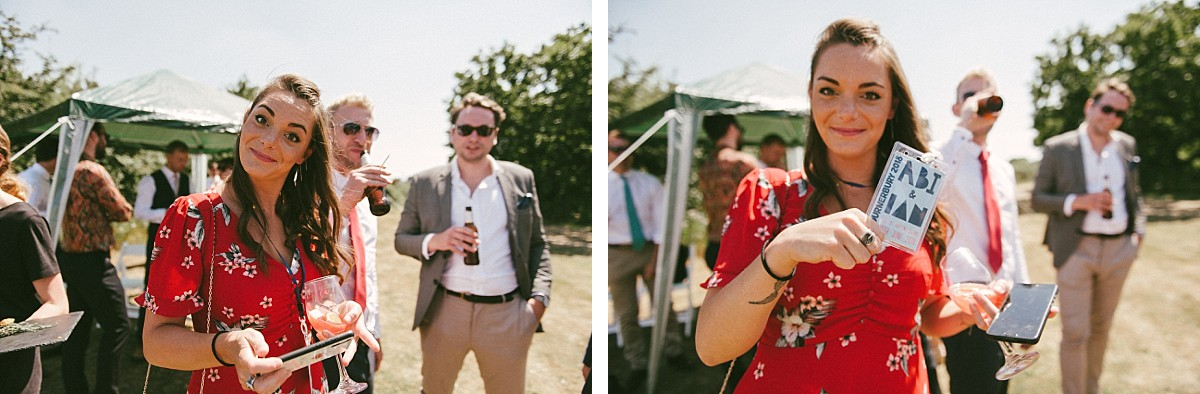 photo of lady in red dress at Hampshire wedding