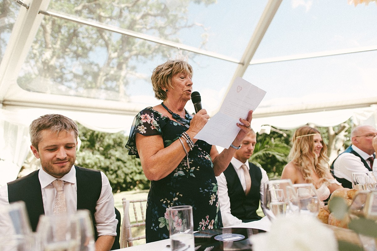 mother of bride doing wedding speech at Tournerbury Woods Estate