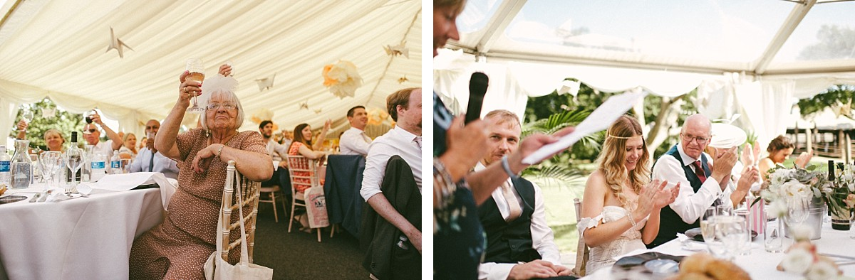 guests toasting at marquee wedding at Tournerbury Woods Estate