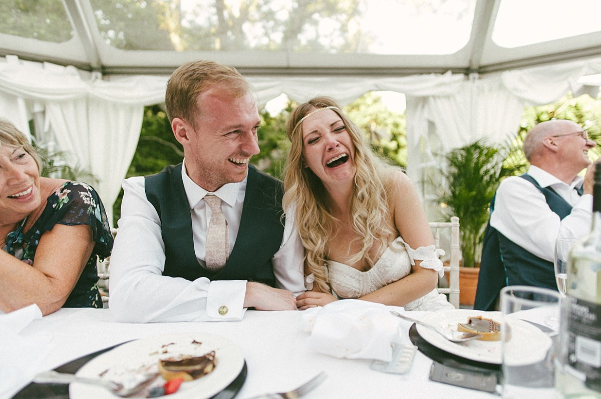 bride crying with laughter at best lady speech at Tournerbury Woods Estate