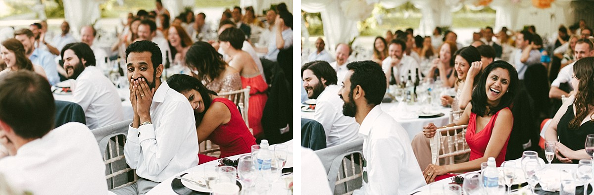 surprised guests at wedding speech