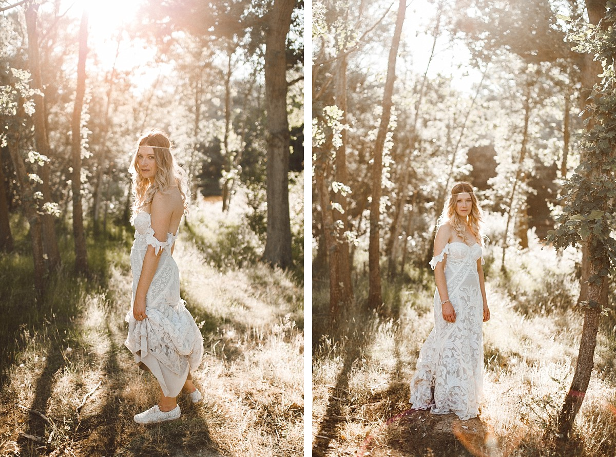 stylish bride at Tournerbury woods estate