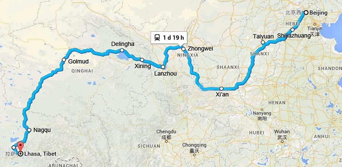 Map ofBeijingto Lhasa, Tibet, Qinghai-Tibet Railway