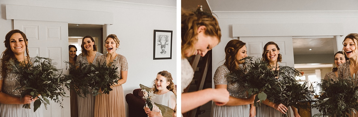 Bridesmids seeing cool Boho bride for the first time