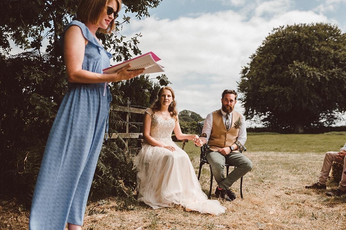 wedding guest giving speech at outdoor alternative wedding