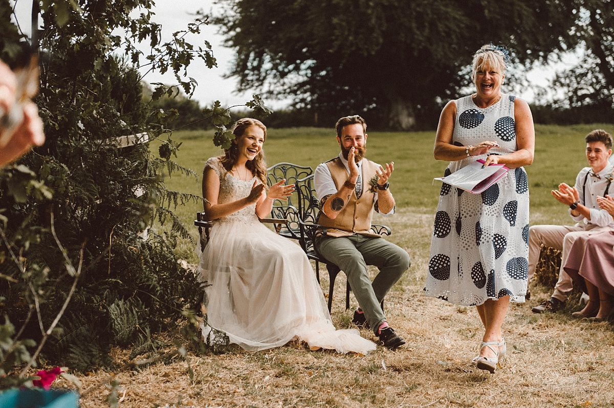 Boho wedding ceremony and bride & groom clppping