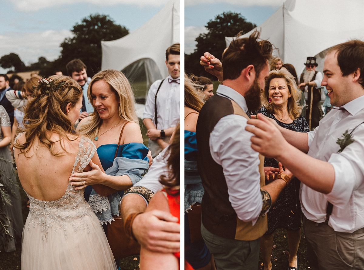 people enjoying outdoor summer wedding