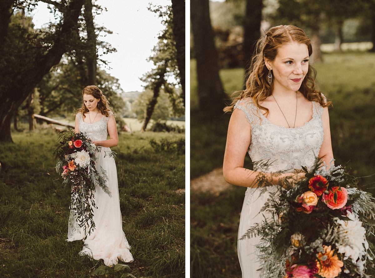 Cool bride holding huge rustic bouquet