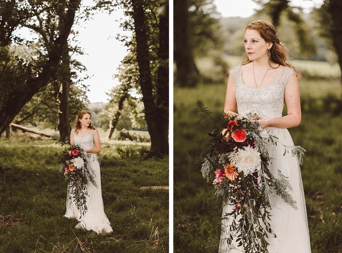 Portrait of Bohemian Bride with rustic bouquet