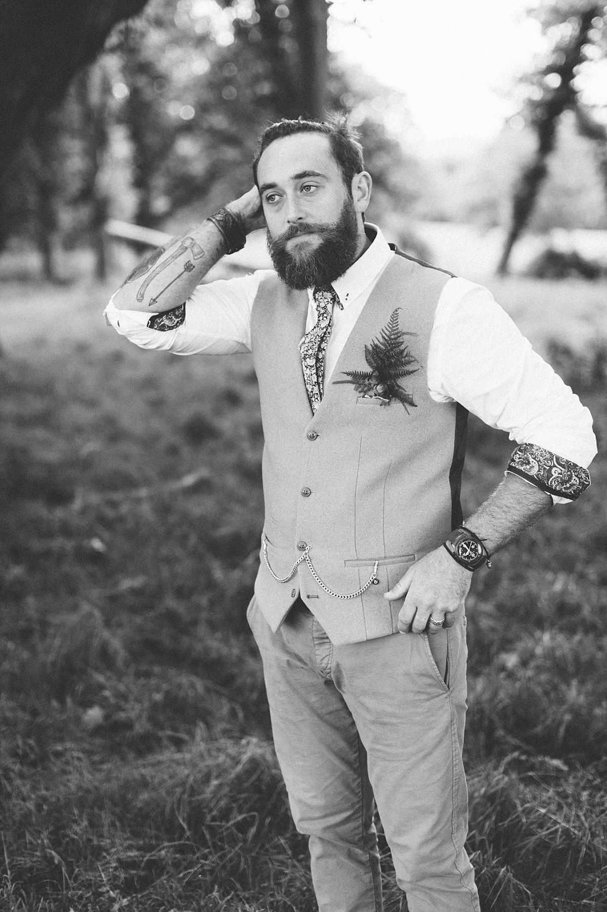 Black & white photo of cool hipster Groom