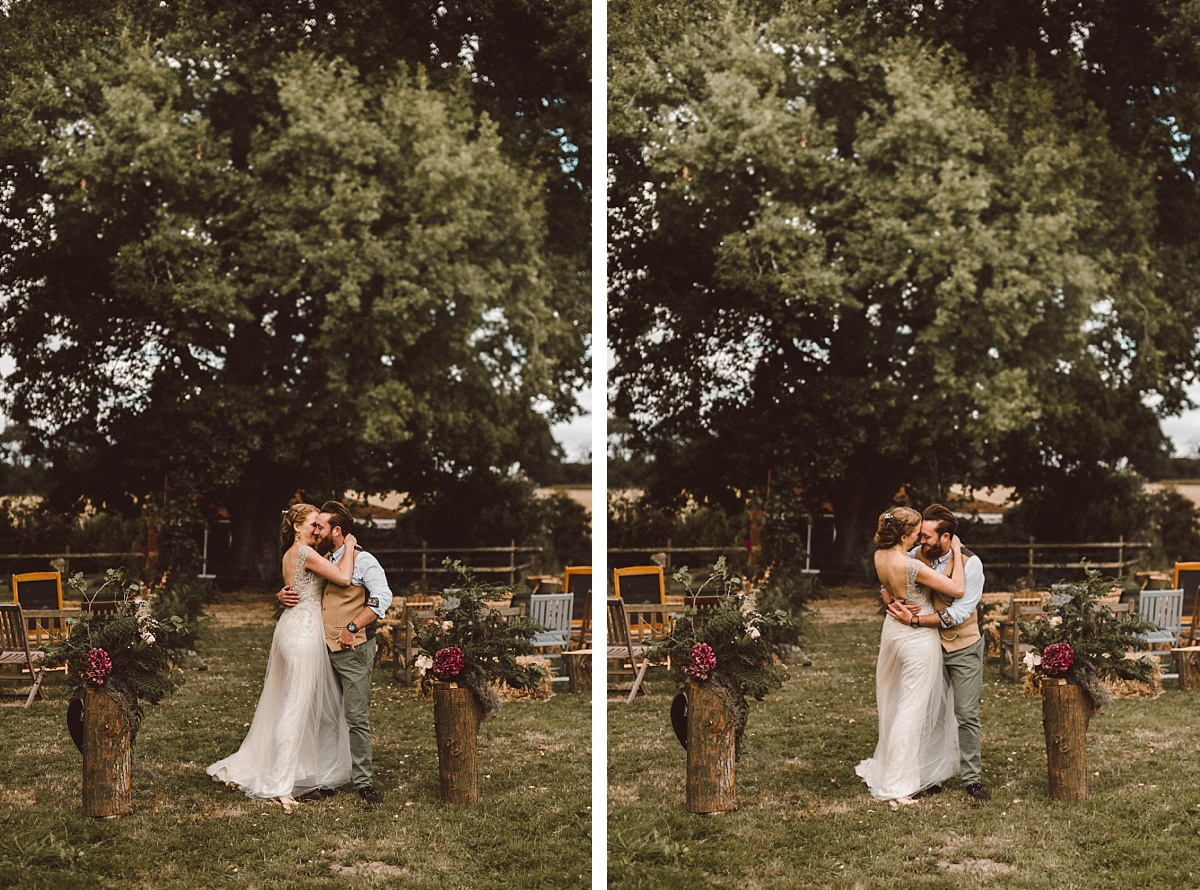 two photos of couple hugging each other