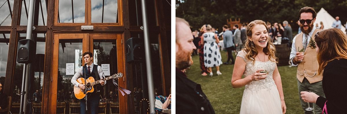 Guitarist playing at an alternative wedding